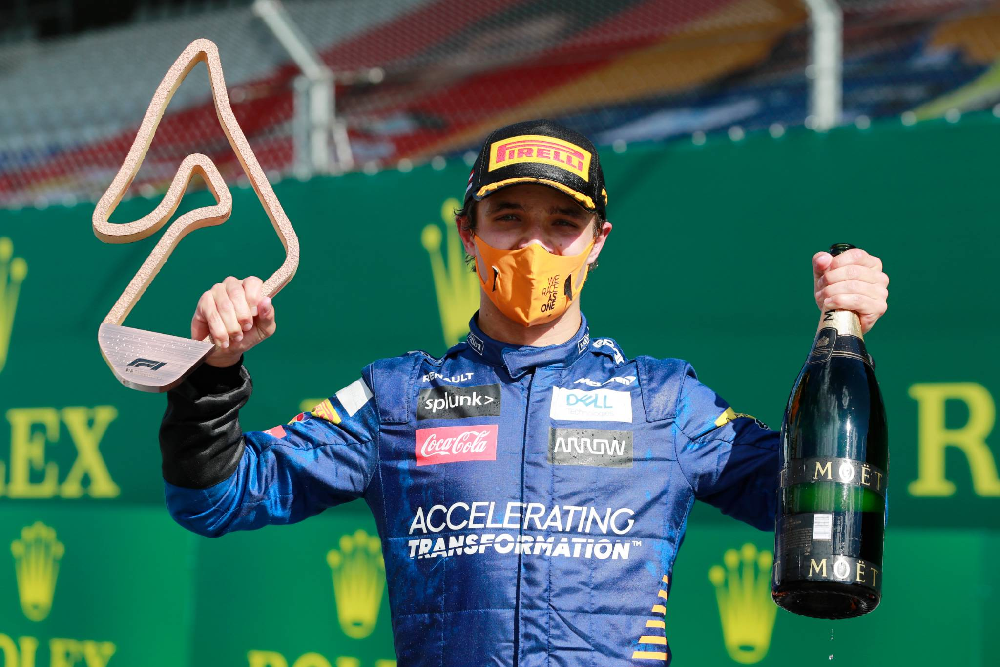 Lando Norris (GBR) McLaren celebrates his third position on the podium.