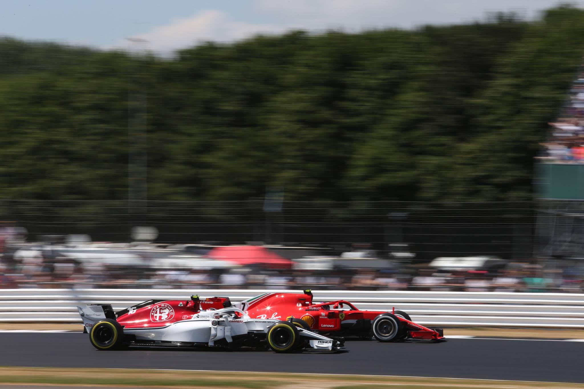 07.07.2018- Qualifying, Kimi Raikkonen (FIN) Scuderia Ferrari SF71H and Charles Leclerc (GER) Alfa Romeo Sauber C37