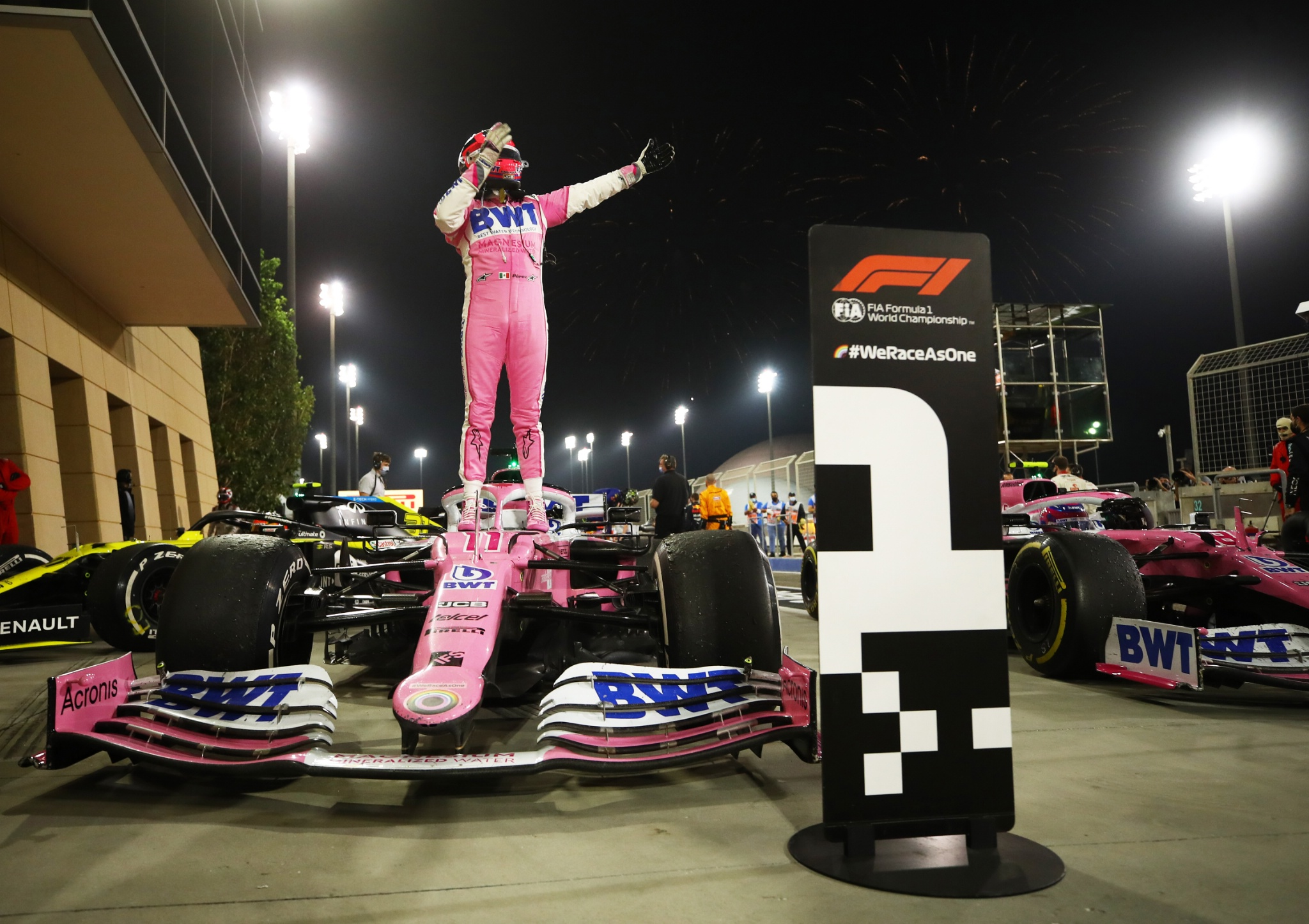 Race winner Sergio Perez (MEX) Racing Point F1 Team RP19 celebrates in parc ferme.