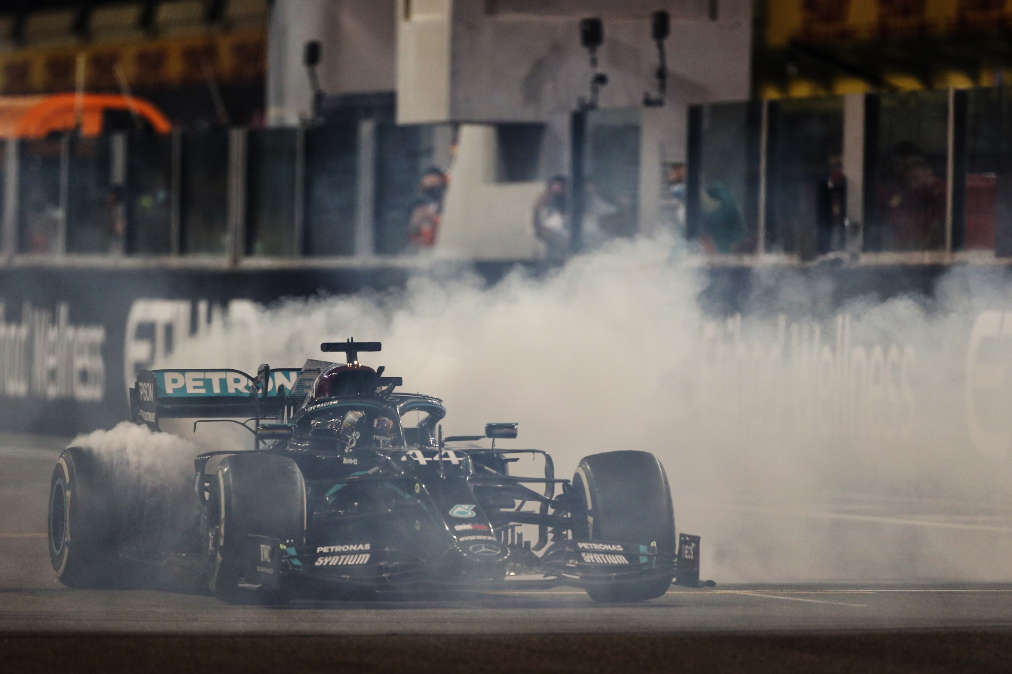 Lewis Hamilton (GBR) Mercedes AMG F1 W11 - doughnuts at the end of the race.