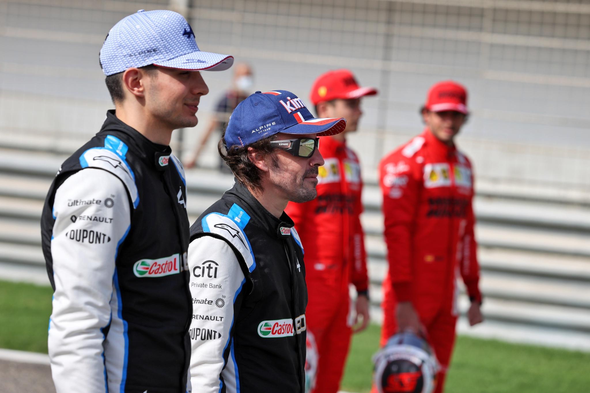 Esteban Ocon (FRA) Alpine F1 Team with Fernando Alonso (ESP) Alpine F1 Team.