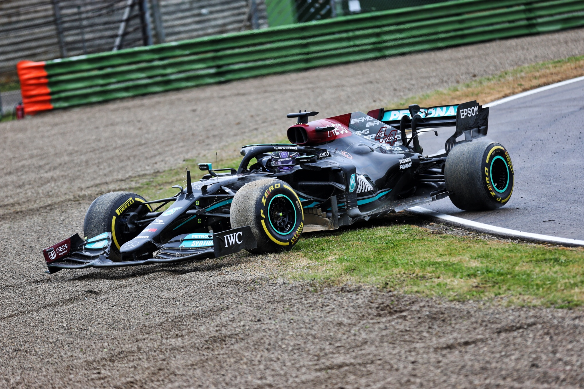 Lewis Hamilton (GBR) Mercedes AMG F1 W12 reverses back onto the circuit at Tosa.