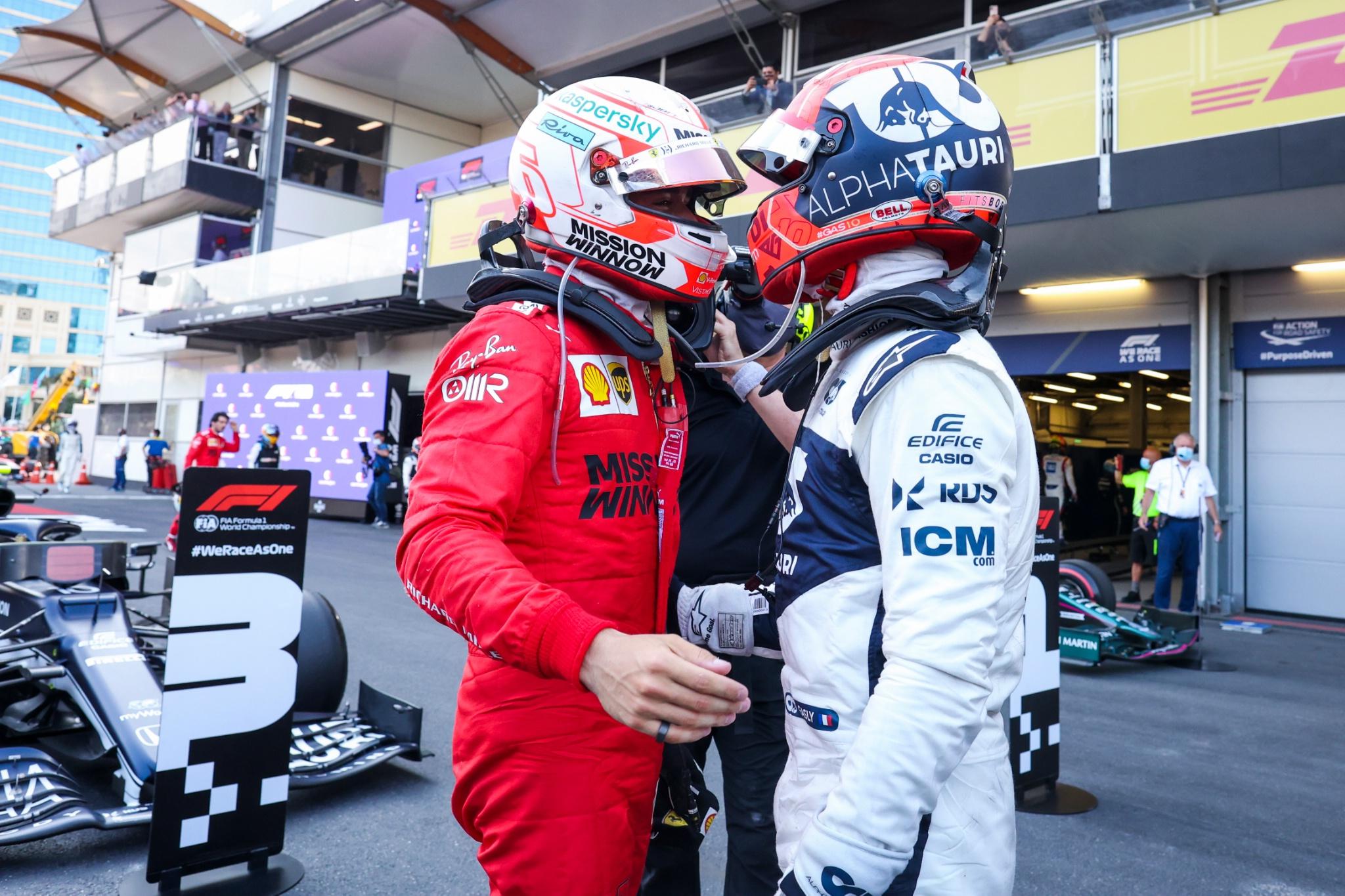 (L to R): Charles Leclerc (MON) Ferrari congratulates Pierre Gasly (FRA) AlphaTauri on his third place in parc ferme.