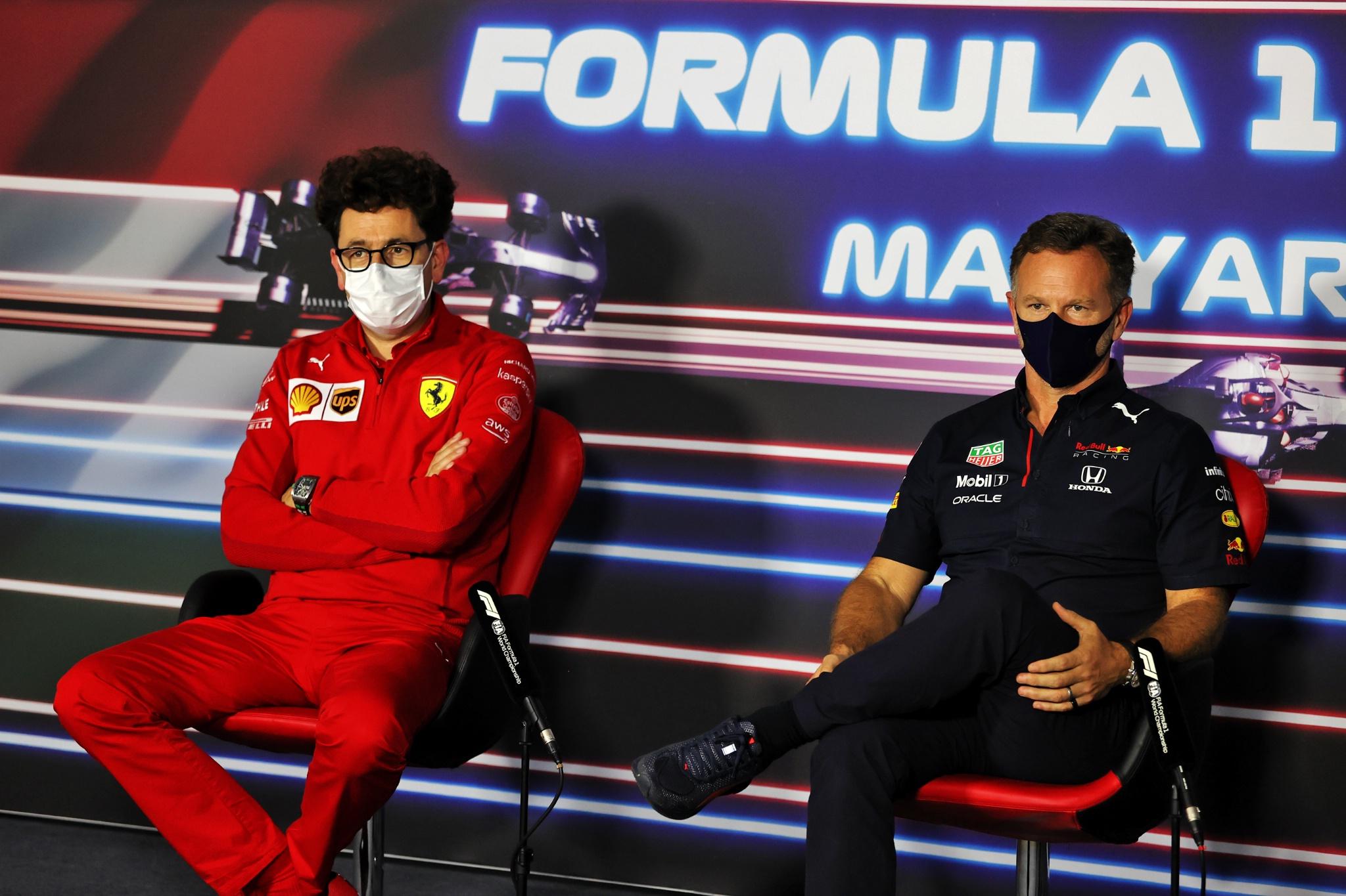 (L to R): Mattia Binotto (ITA) Ferrari Team Principal and Christian Horner (GBR) Red Bull Racing Team Principal in the FIA Press Conference.