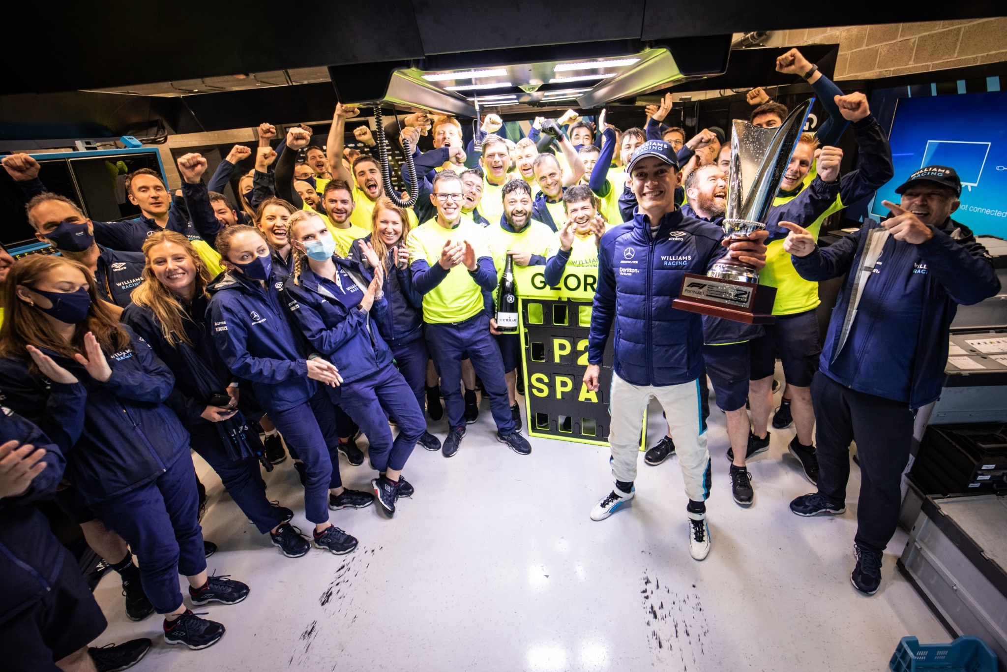 George Russell (GBR) Williams Racing celebrates his second position with the team.
