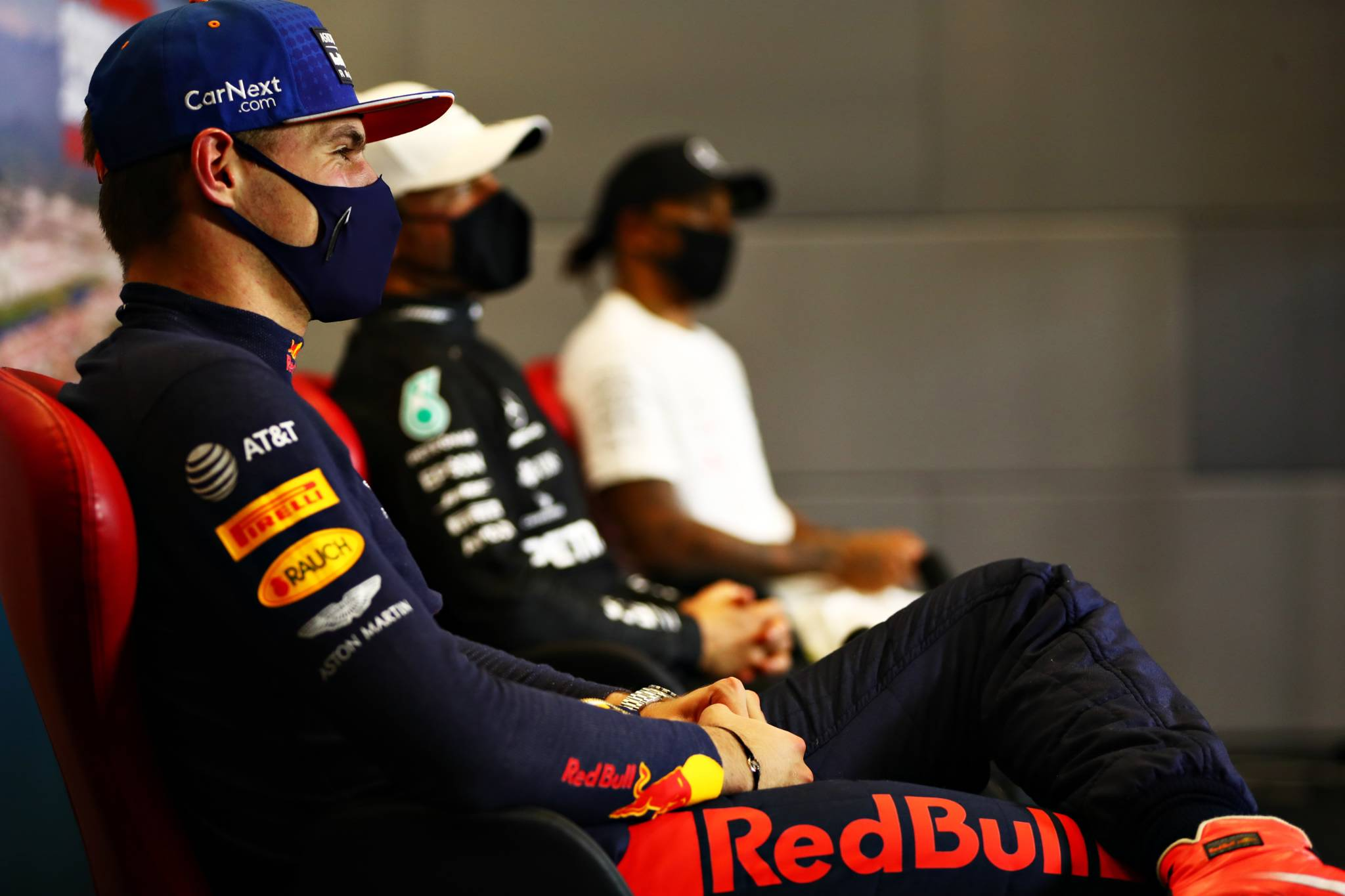 Max Verstappen (NLD) Red Bull Racing in the post race FIA Press Conference.