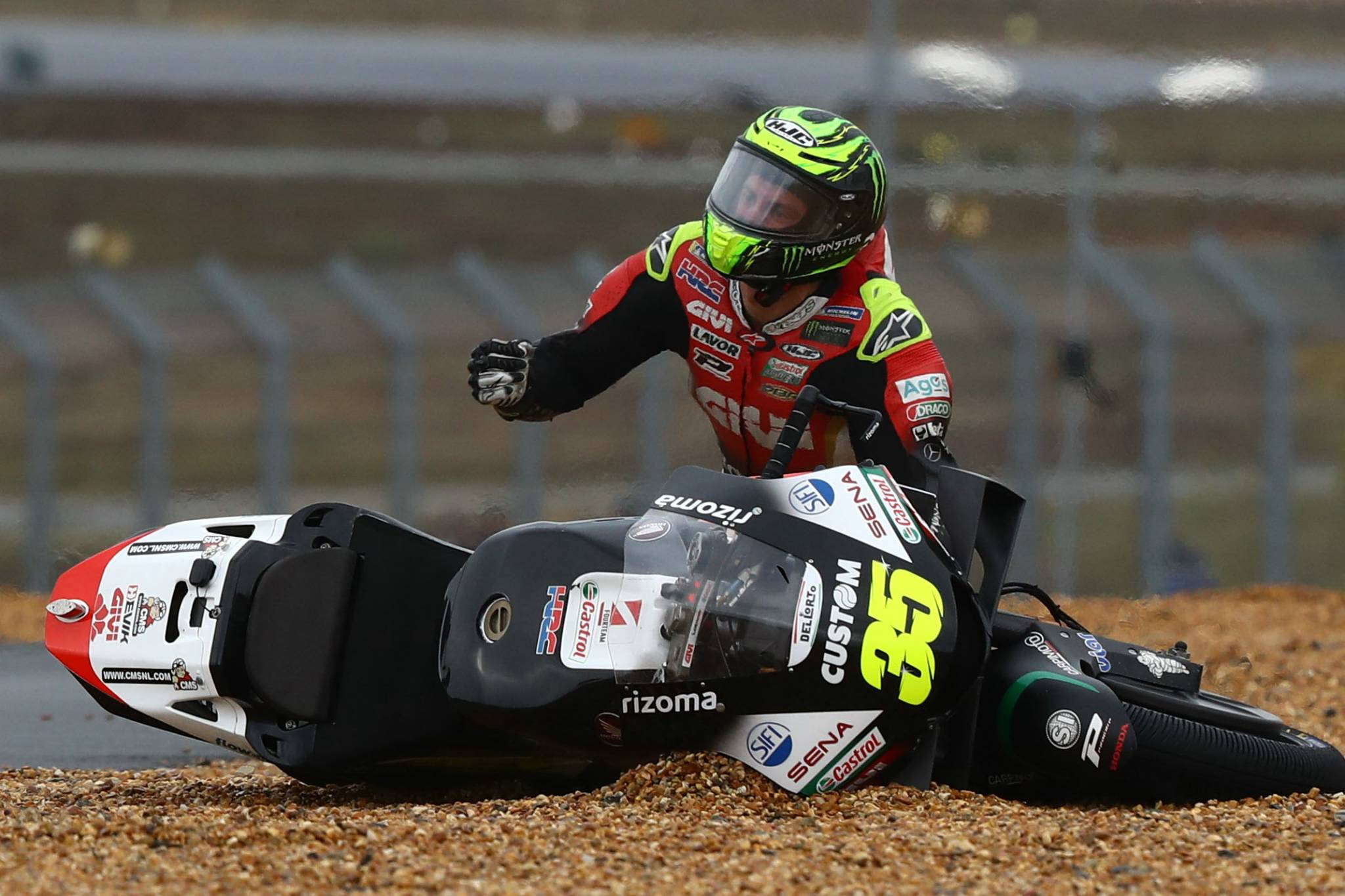 Cal Crutchlow after crash , MotoGP race, French MotoGP. 11 October 2020