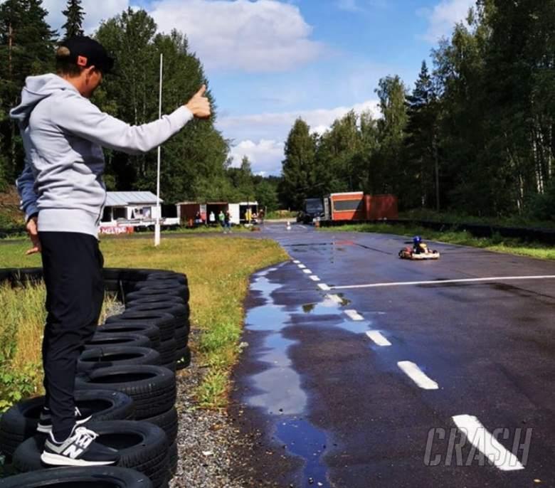 Kimi Raikkonen's son gets first taste of go-karting
