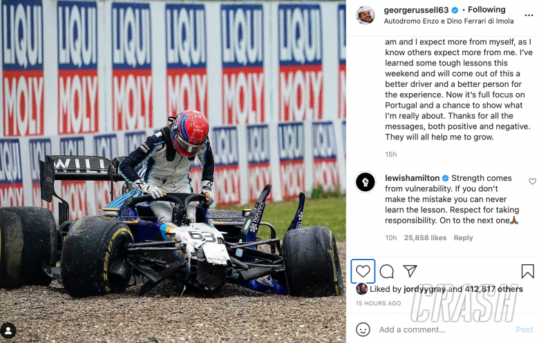 F1 champion Hamilton sends Russell message of support after crash