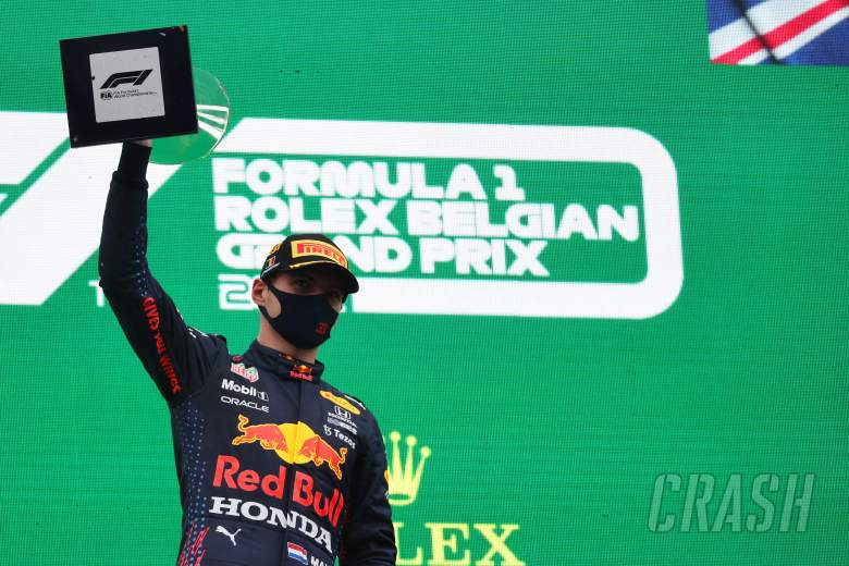Verstappen wins two-lap Belgian GP as Russell gets first F1 podium