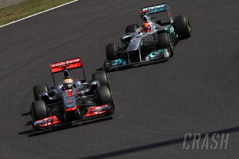 08.10.2011- Saturday Practice, Lewis Hamilton (GBR), McLaren  Mercedes, MP4-26 and Michael Schumache