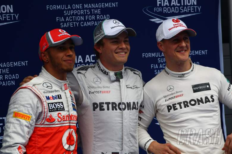 14.02.2012 - Qualifying, Pole Position Nico Rosberg (GER) Mercedes AMG F1 W03, 2nd Place Lewis Hamil
