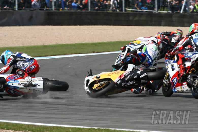 Checa and Smrz crash, Race 2, Donington WSBK 2012