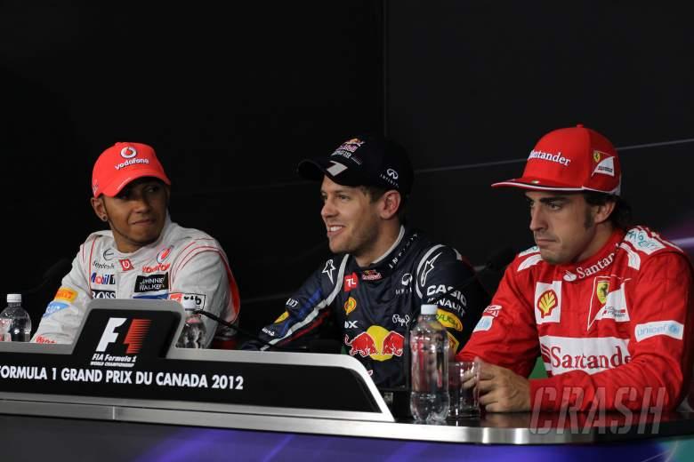 09.06.2012- Qualifying, Press conference, Lewis Hamilton (GBR) McLaren Mercedes MP4-27, Sebastian Ve