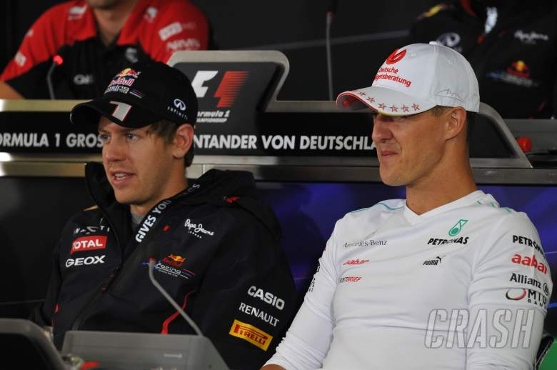 19.07.2012 - Press Conference, Michael Schumacher (GER) Mercedes AMG F1 W03 with Sebastian Vettel (G