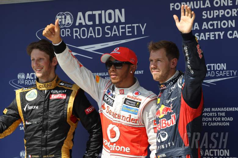 28.07.2012- Qualifying, 2nd position Romain Grosjean (FRA) Lotus F1 Team E20, Lewis Hamilton (GBR) M