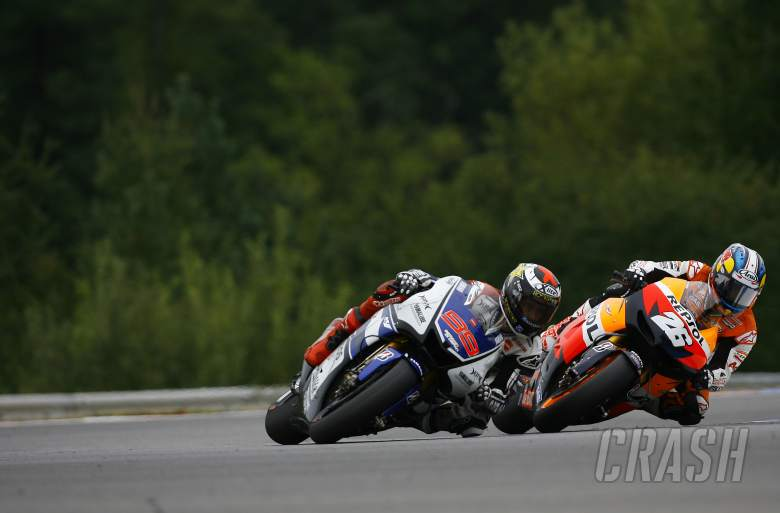 Lorenzo and Pedrosa, last lap last corner, Czech MotoGP 2012