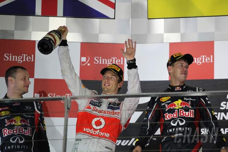 ,  - 23.09.2012 - Podium: winner Sebastian Vettel (GER) Red Bull Racing RB8, 2nd Jenson Button (GBR) McLa
