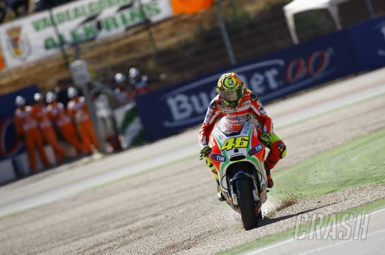 Rossi in the gravel, Aragon MotoGP 2012
