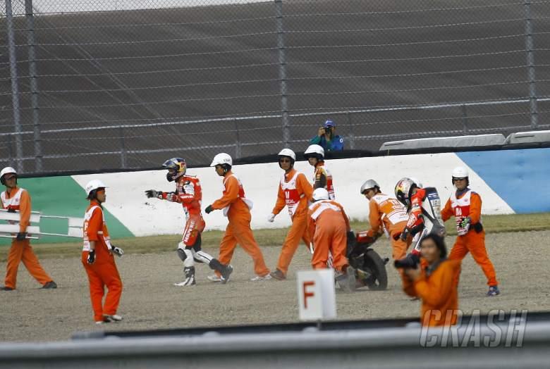 Folger and Salom after crash, Moto3 race, Japan MotoGP 2012