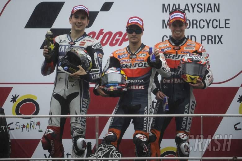 Lorenzo, Pedrosa, Stoner, Malaysian MotoGP Race 2012