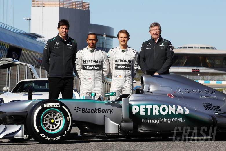 The new Mercedes AMG F1 W04 is unveiled (L to R): Toto Wolff (GER) Mercedes AMG F1 Shareholder and E