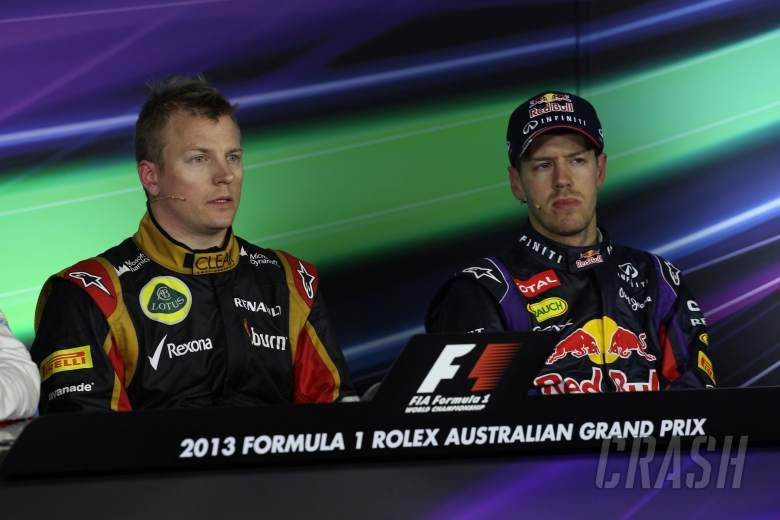 17.03.2013- Race, Press conference, Kimi Raikkonen (FIN) Lotus F1 Team E21 and Sebastian Vettel (GER