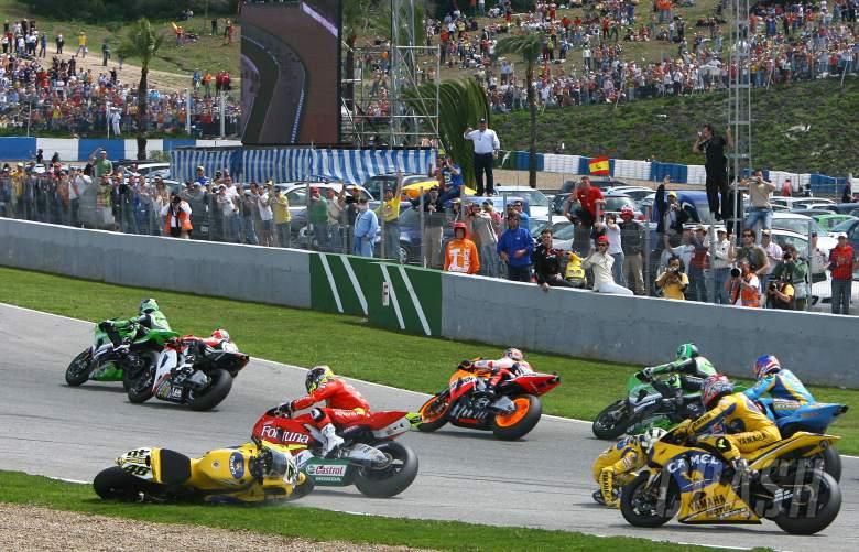 , , Rossi`s turn one crash, Spanish MotoGP, 2006