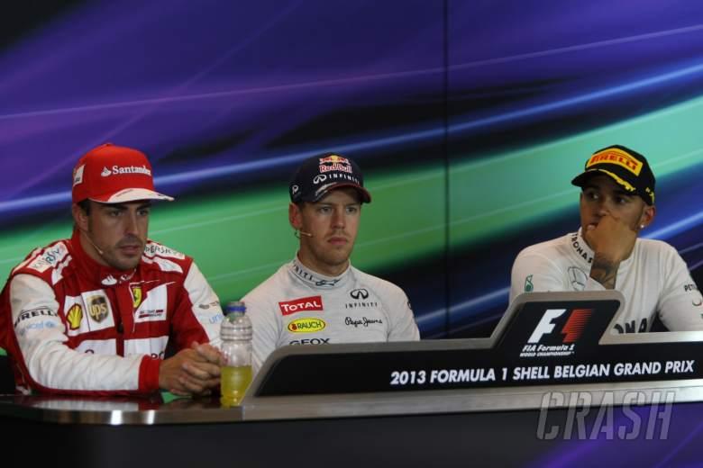 25.08.2013-  Race, Press conference, Fernando Alonso (ESP) Scuderia Ferrari F138, Sebastian Vettel (