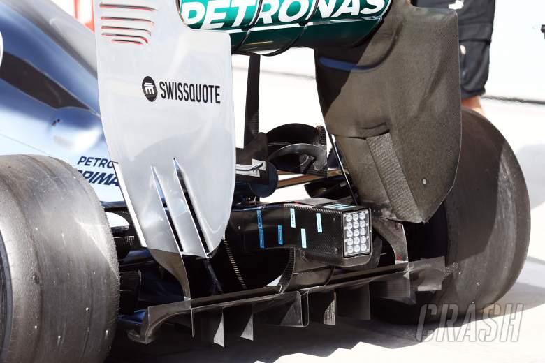 Mercedes AMG F1 W05 temperature sensors below the exhaust.20.02.2014. Formula One Testing, Bahrain