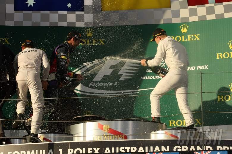 16.03.2014- Race, 1st position Nico Rosberg (GER) Mercedes AMG F1 W05, 2nd position Daniel Ricciardo