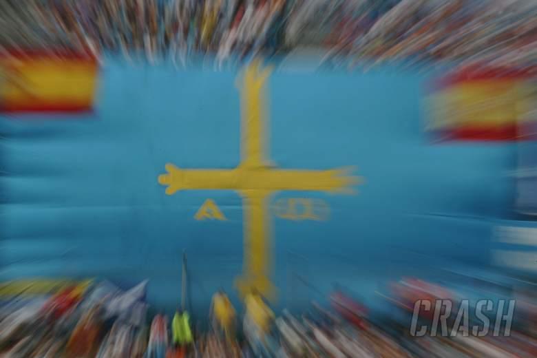 13.05.2006 Granollers, Spain, . Flag of Fernando Alonso`s home town Oviedo - Formula 1 World Champio