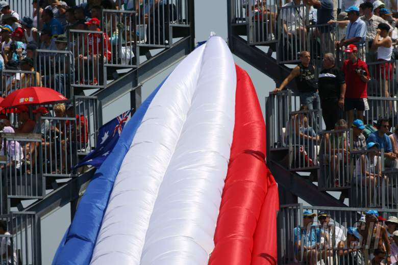 15.07.2006 Magny Cours, France, An inflatable French flag at turn 17 - Formula 1 World Championship,