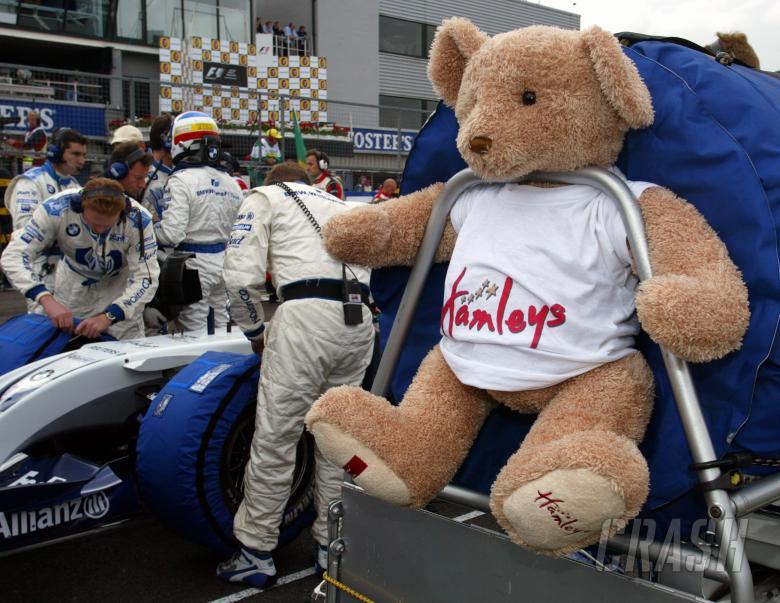 A Hamleys bear as a good luck mascot for the BMW Williams F1 team