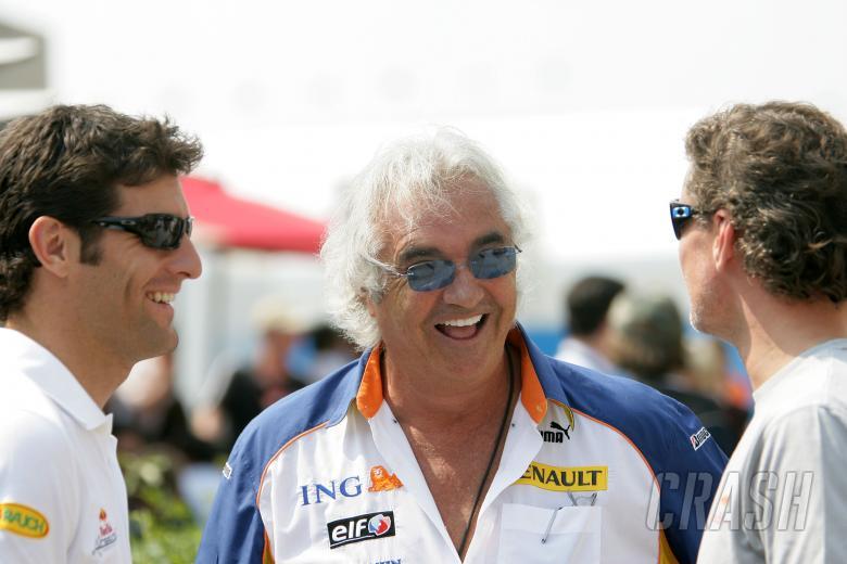 Mark Webber (AUS) Red Bull RB3, Flavio Briatore (ITA) Renault Team Principal, David Coulthard (GBR)