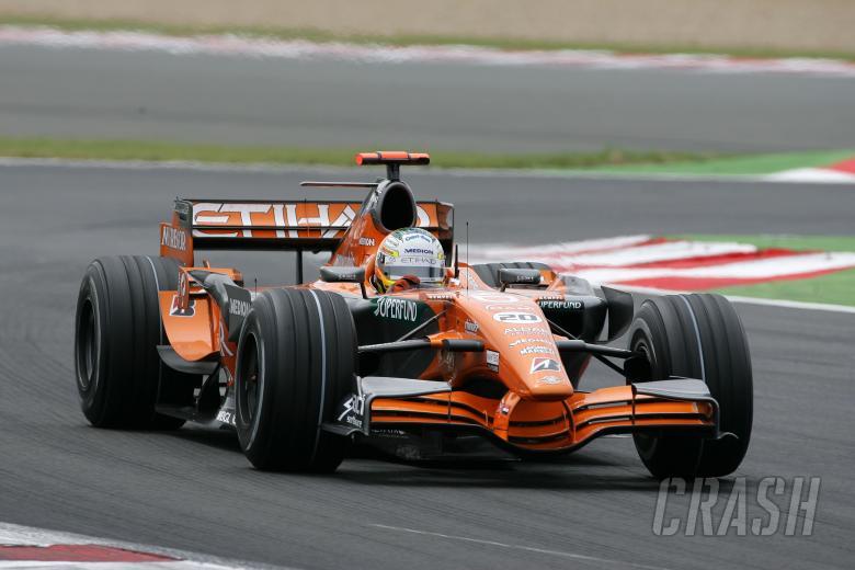 Adrian Sutil (GER) Etihad Aldar Spyker Formula One Team F8-V11, France F1, Magny Cours, 29th June-1s