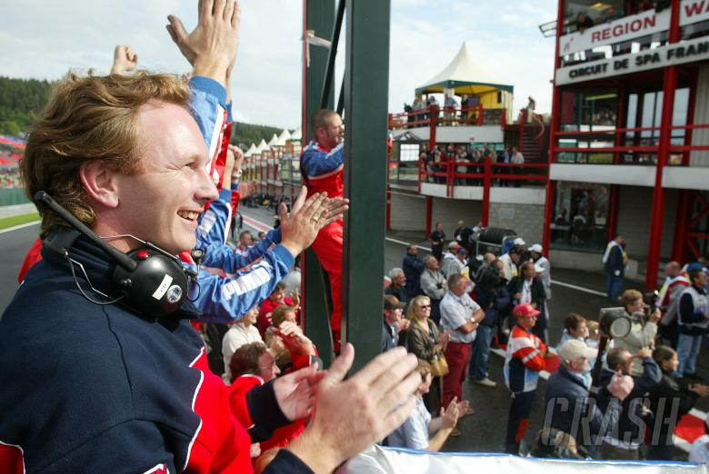 Christian Horner celebrates his Arden team winning both the Spa round and the 2004 FIA F3000 title