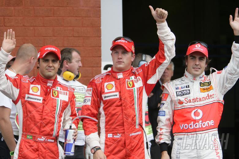 Felipe Massa (BRA) Ferrari F2007, Kimi Raikkonen (FIN) Ferrari F2007, Fernando Alonso (ESP) McLaren