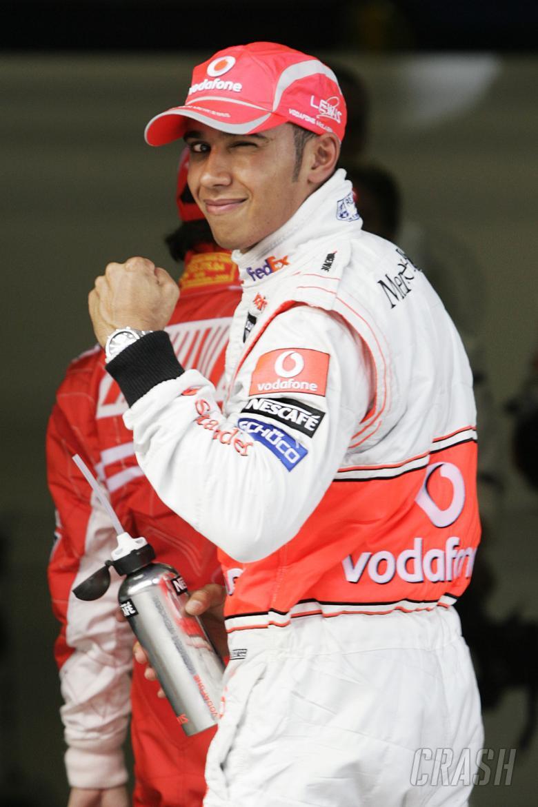 Lewis Hamilton (GBR) McLaren MP4-23 Gets Pole Position, Chinese F1 Grand Prix, Shanghai, 17th-19th O