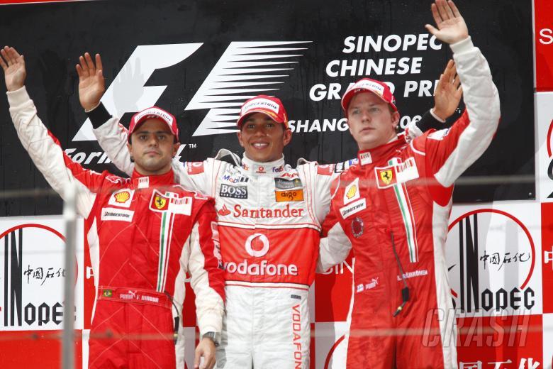 Felipe Massa (BRA) Ferrari F2008, Lewis Hamilton (GBR) McLaren MP4-23, Kimi Raikkonen (FIN) Ferrari
