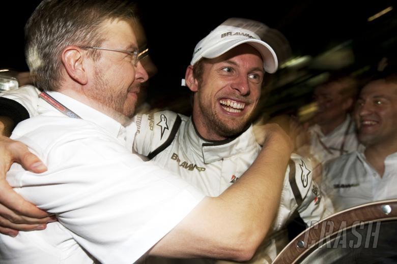 , , Ross Brawn (GBR) Team Principal, Brawn GP & Jenson Button (GBR) Brawn BGP001 Celebrate Maiden Win, A