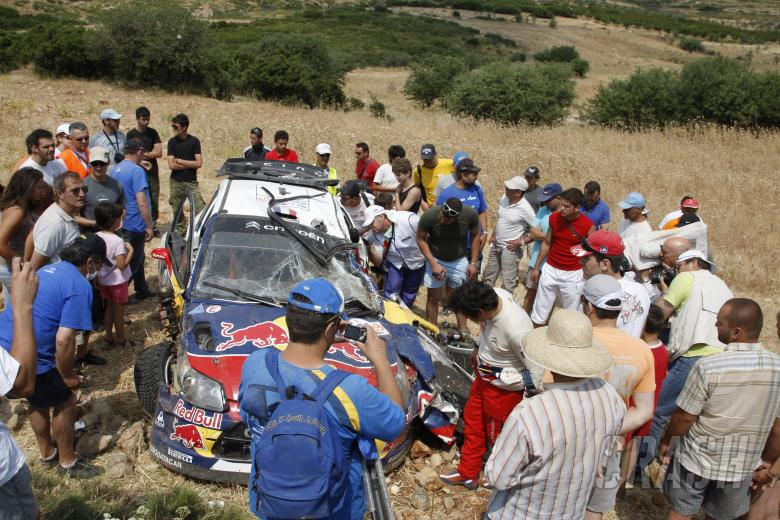 crash, Sebastien Loeb (FRA) Daniel Elena (MON), Citroën C4, Citroën Total World Rally Team