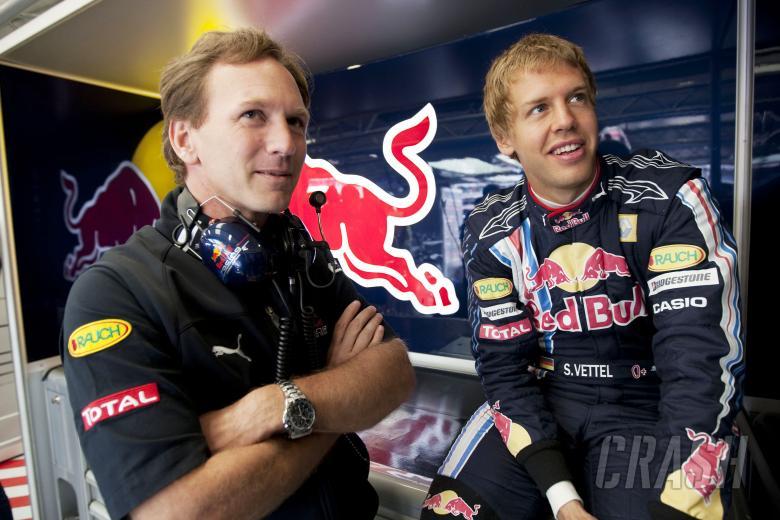 Christian Horner (NED) Red Bull Sporting Director, Sebastian Vettel (GER) Red Bull RB5, British F1,