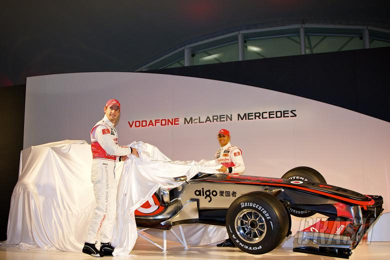 Jenson Button (GBR), Lewis Hamilton (GBR), McLaren MP4-25 Launch, Newbury, GB, Vodafone, Mercedes