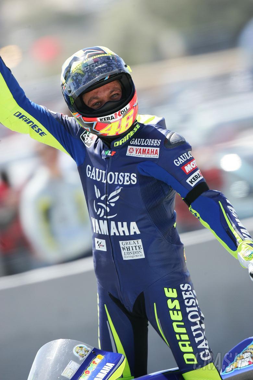 Rossi celebrates win, Spanish MotoGP, 2005