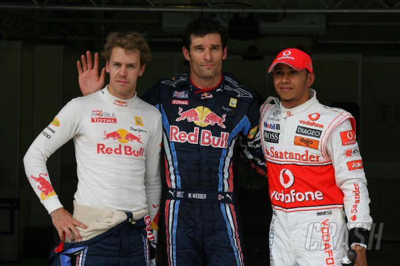 Qualifying, Mark Webber (AUS), Red Bull Racing, RB6 pole position, Lewis Hamilton (GBR), McLaren  Me