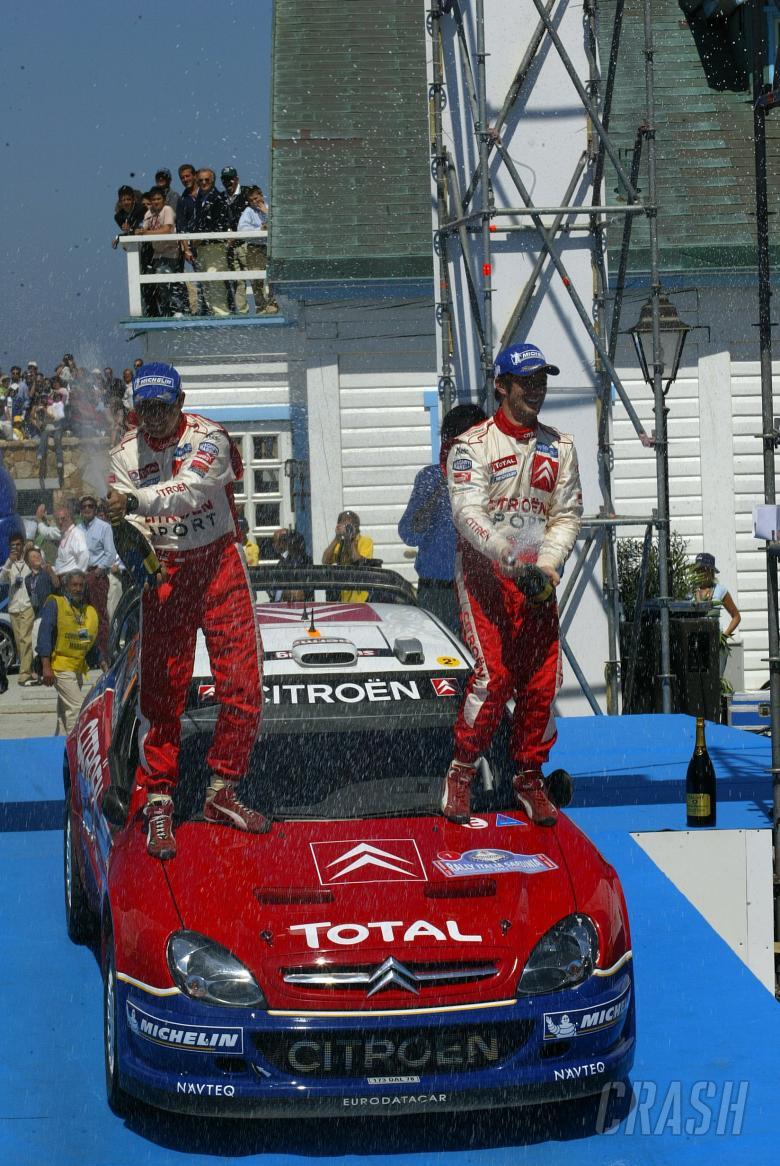 Citroen`s Sebastien Loeb and Daniel Elena celebrate their victory in Sardinia