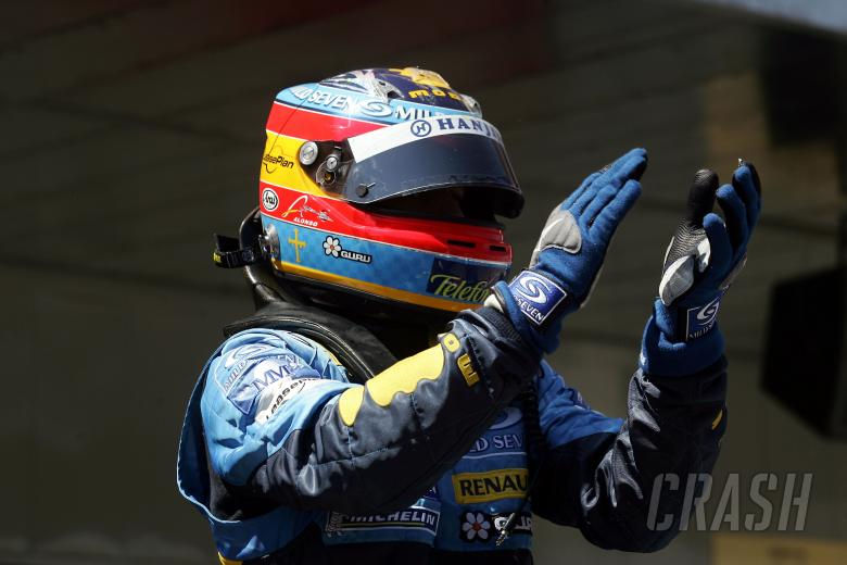 , , Fernando Alonso acknowledges the Spanish crowd from parc ferme