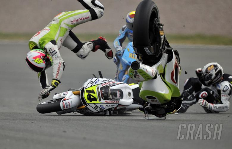 De Puniet and Espargaro crash, German MotoGP 2010. Photo courtesy of LCR Honda