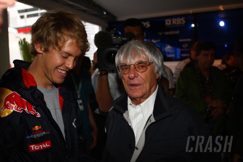 Thursday, Bernie Ecclestone (GBR), President and CEO of Formula One Management and Sebastian Vettel